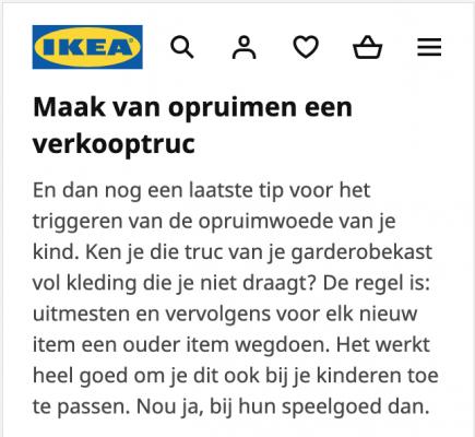Tone of voice voorbeeld Ikea